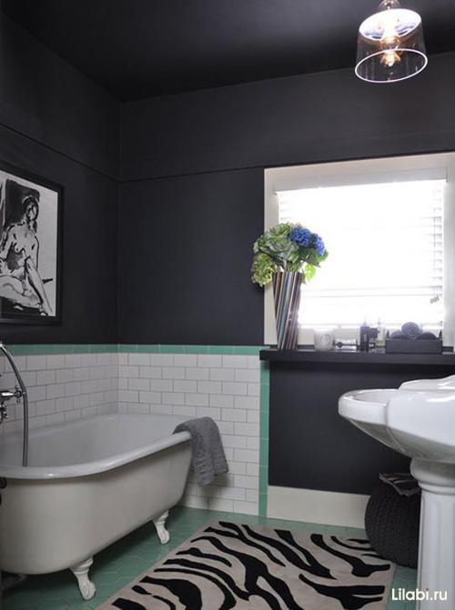 Чёрные потолки в интерьере фото