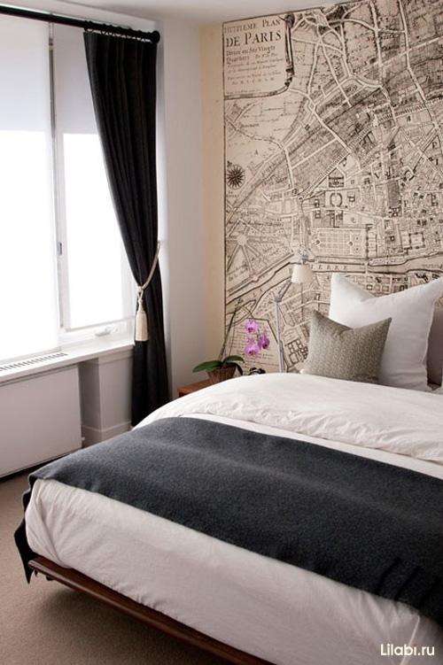 Фото спальни в серых тонах с розовым