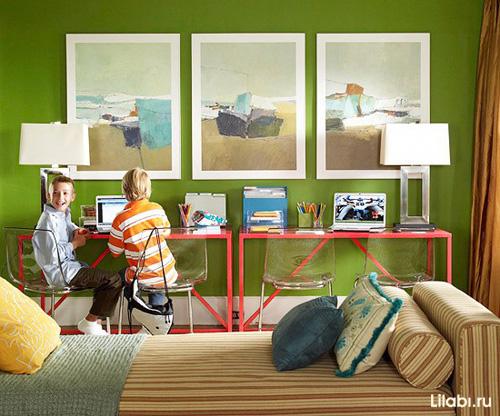 Дизайн детской комнаты для мальчика с яркими стенами