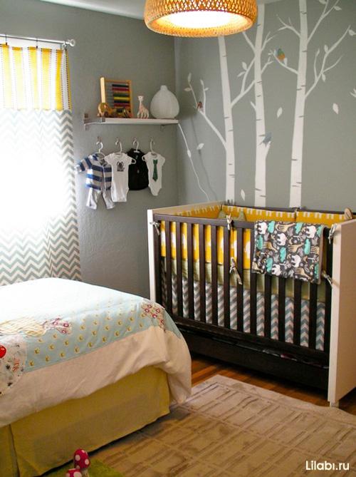 Дизайн детской комнаты для мальчика с рисунками на стенах