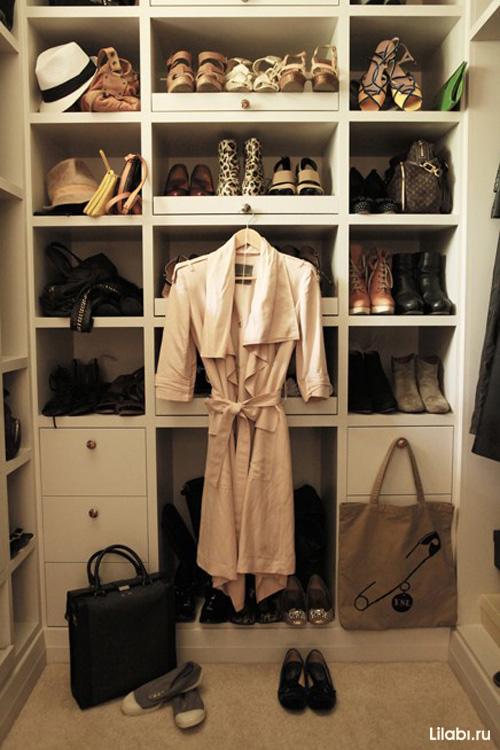 П -образная гардеробная комната фото