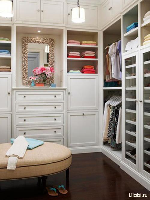 Г-образная гардеробная комната фото
