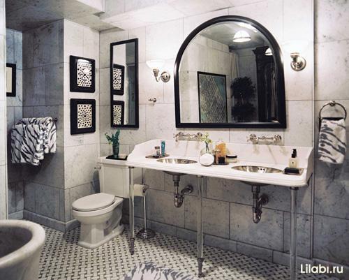 Отделка ванной комнаты плиткой под мрамор фото