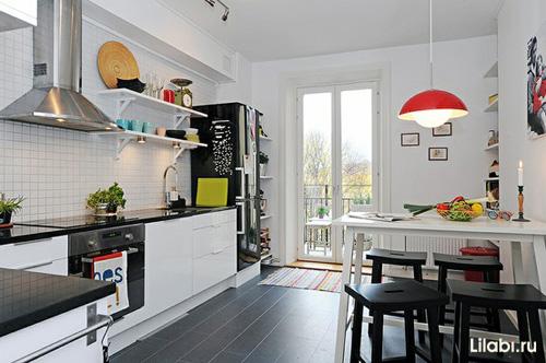 Г-образная угловая кухня фото