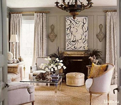 Дизайн интерьера гостиной с серыми стенами