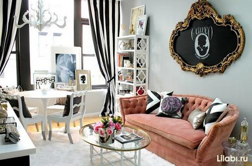 Дизайн интерьера гостиной в розовых золотых и черных тонах