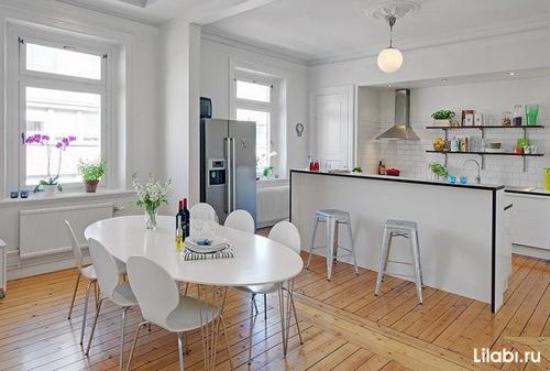 Дизайн барная стойка на маленькой кухне