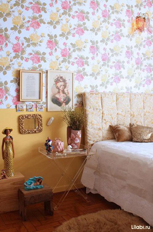 Комбинирование обоев для стен в спальне. Однотонные и с рисунком