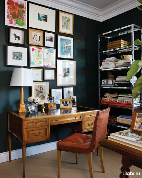Черный цвет в интерьере рабочего кабинета