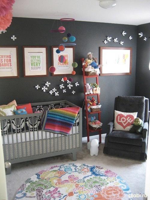 Черный цвет в интерьере детской фото