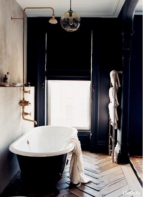 Черный цвет в интерьере ванной комнаты фото
