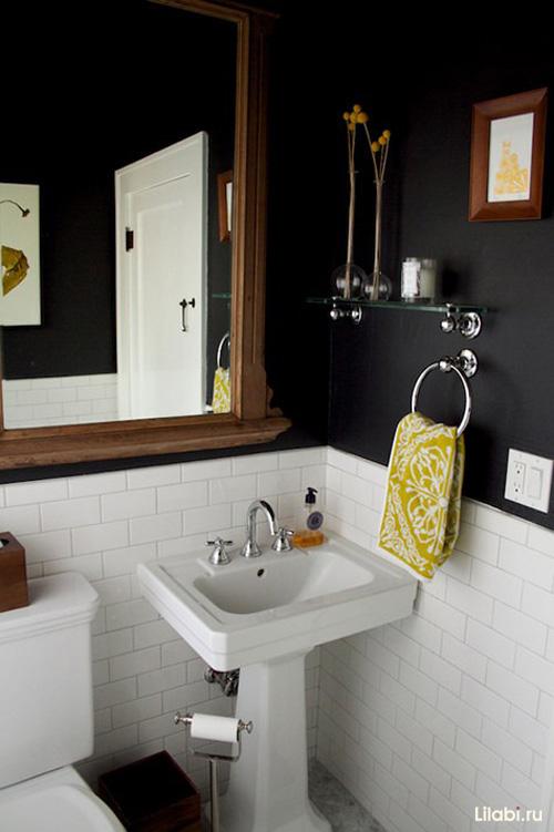 Черный цвет в интерьере ванной комнаты и туалета фото