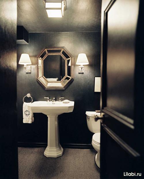 Черный цвет в интерьере ванной комнаты и туалета