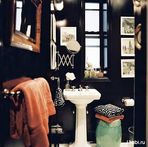 Черный цвет стен в интерьере ванной комнаты и туалета