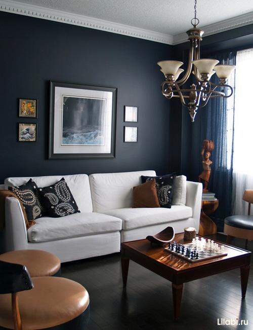 Черный цвет стен в интерьере гостиной