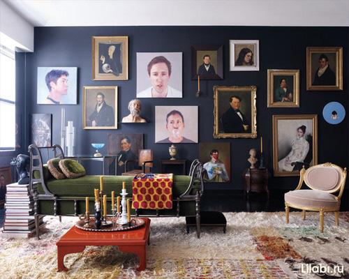 Черный цвет стен в интерьере гостиной фото