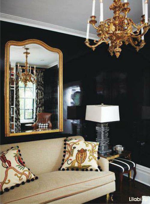 Черный цвет в интерьере гостиной фото