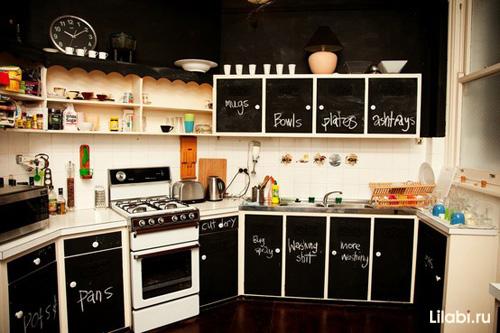 Черный цвет фасадов в интерьере кухни