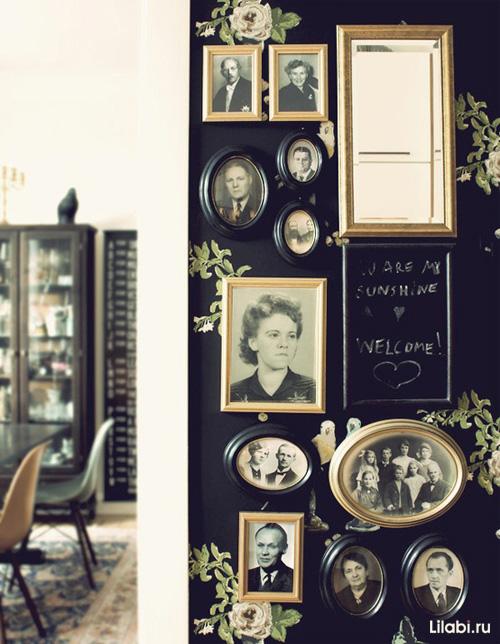 Черный цвет в интерьере, черные стены и обои