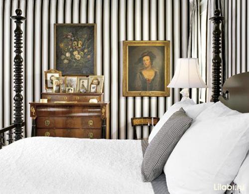 Полосатые стены и обои в полоску в интерьере фото