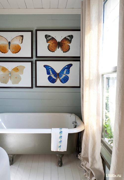 Картины в интерьере ванной комнаты и туалета