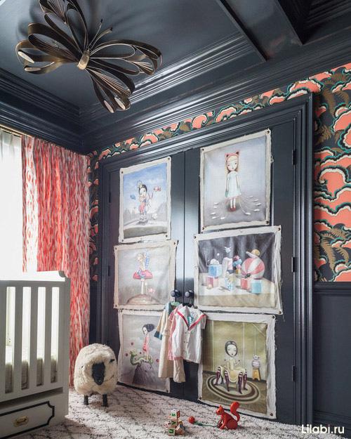 Необычная детская комната черного цвета