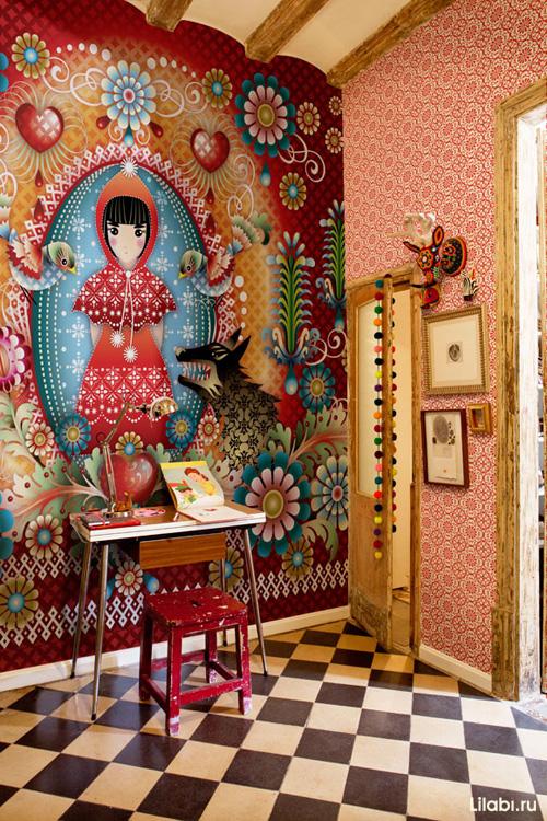Яркие дизайнерские обои в интерьере от Catalina Estrada